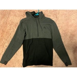 Adidas black and grey zip up hoodie